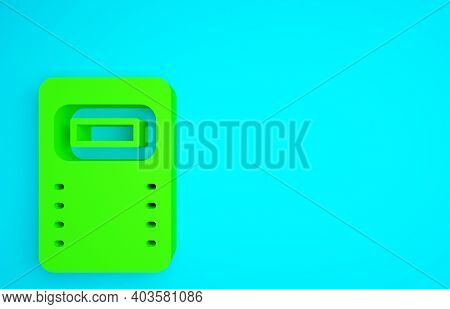 Green Police Assault Shield Icon Isolated On Blue Background. Minimalism Concept. 3d Illustration 3d