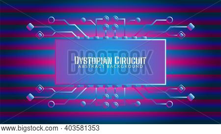 Cyberpunk Circuit In Gradient Bar Pattern. Dystopian Electronic Tree With Rectangle Shape. Vector Il