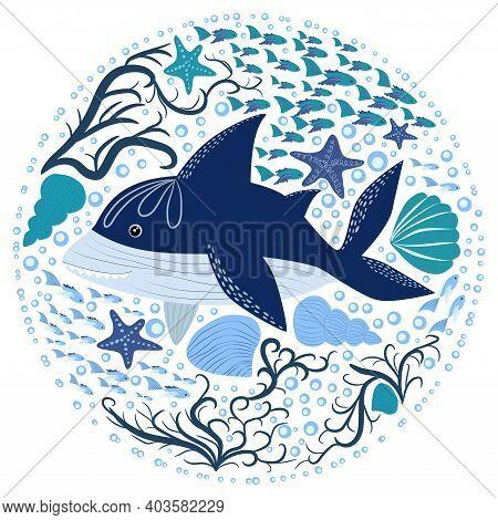 Cartoon Shark Scandinavian Sea For Print Design.