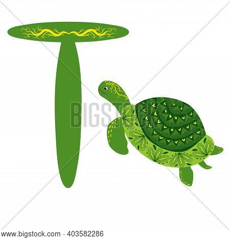 Green Scandinavian Style Turtle With Painted Shell Pattern Hand Drawn. Letter T, Children's Alphabet