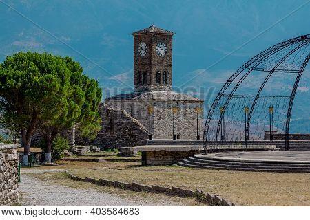 Gjirokaster Town/ Albania -august 2, 2020:  Gjirokaster Town/ Albania -august 2, 2020: View Of Clock