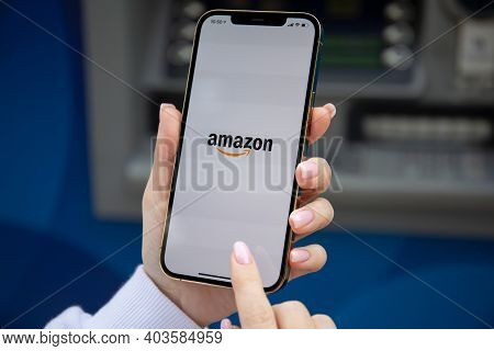Alanya, Turkey - December 3, 2020: Woman Hands Holding Iphone 12 Pro Max Gold With Online Internet S