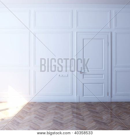 White room with wooden floor