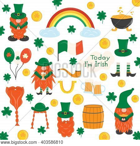 Elements For St. Patrick's Day. Set With Leprechauns, Horseshoe, Clover, Beer, Barrel, Irish Gnomes,