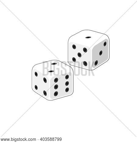 Pair Of Dice Vector Clipart. Two White Craps Board Game. Isolated Illustration Icon. Throw Dices Boa