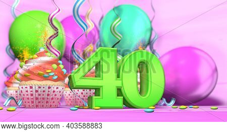 Birthday Cupcake With Sparking Candle With The Number 40 Large In Green With Cupcakes With Red Cream