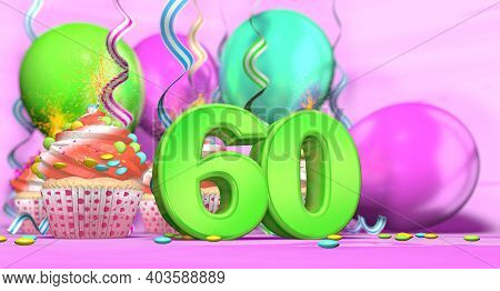 Birthday Cupcake With Sparking Candle With The Number 60 Large In Green With Cupcakes With Red Cream