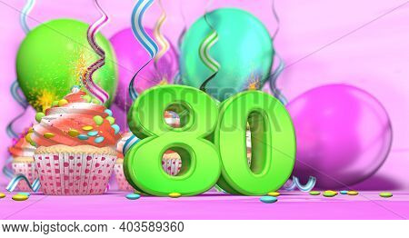 Birthday Cupcake With Sparking Candle With The Number 80 Large In Green With Cupcakes With Red Cream