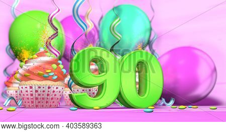 Birthday Cupcake With Sparking Candle With The Number 90 Large In Green With Cupcakes With Red Cream