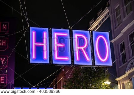 London, Uk - November 1, 2020: Close Up Of Carnaby Street Christmas Lights 2020 With The Word Hero I