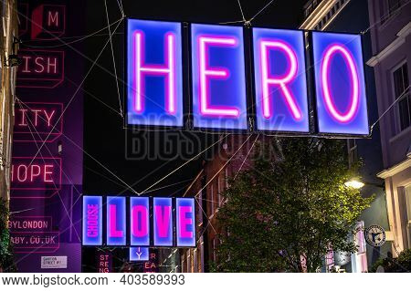 London, Uk - November 1, 2020: Close Up Of Carnaby Street 2020 Christmas Lights With Hero And Choose