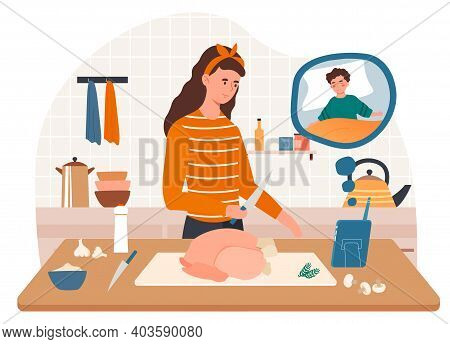 Female Character Is Looking At Screen Video Of Her Baby Child Sleeping While Cooking Chicken. Concep