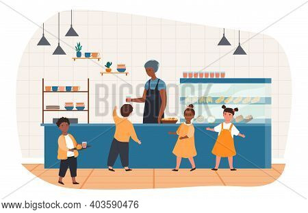 Little Pupils Queuing, Carrying Trays With Lunch At School Canteen. Interior Of School Cafeteria Wit