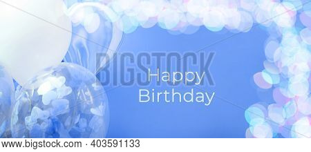 Blue And White Balloons With Helium On A Blue Background With Bokeh Lights, Banner With With Text Ha