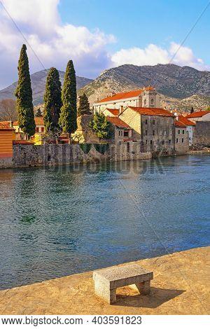 Old Town Of Trebinje City And Trebisnjica River On Winter Day. Bosnia And Herzegovina, Republika Srp