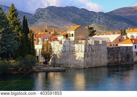 View Of Old Town Of Trebinje City And Trebisnjica River On Sunny Winter Day. Bosnia And Herzegovina,