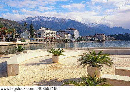 Beautiful Winter Mediterranean Landscape. Montenegro, Bay Of Kotor. Embankment Of Tivat City