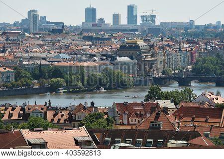 Prague - August 08, 2016: Panorama Of Old City On August 08, 2016 In Prague, Czech Republic. Prague