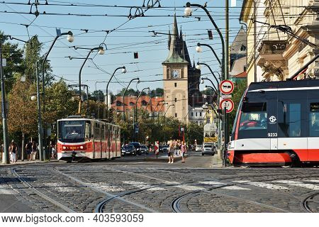 Prague - August 07, 2016: Red Tram On August 07, 2016 In Prague, Czech Republic. Prague Is The Capit