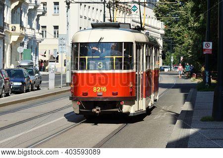 Prague - August 07, 2016: Old Retro Vintage Tram On August 07, 2016 In Prague. Prague Is The Capital
