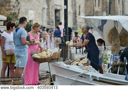 Chania, Greece - August 12: Unknown People Trade Natural Sponges In Chania, Crete, Greece On 12 Augu
