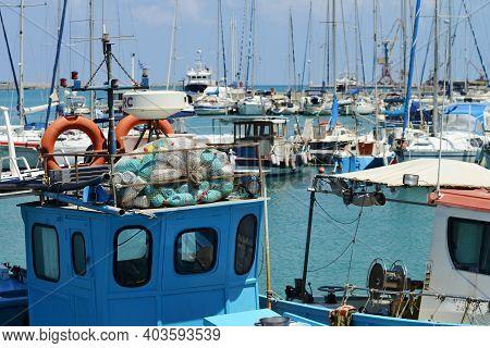 Heraklion, Crete - August 09: Fisherman Boat At The Harbor In Heraklion, Crete, Greece On 09 August