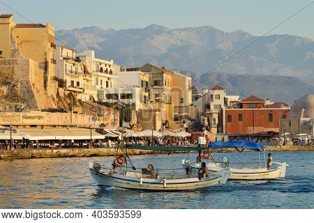Chania, Greece - August 12: Beautiful Sunset At Harbor Of Chania, Greece On August 12, 2014. Chania