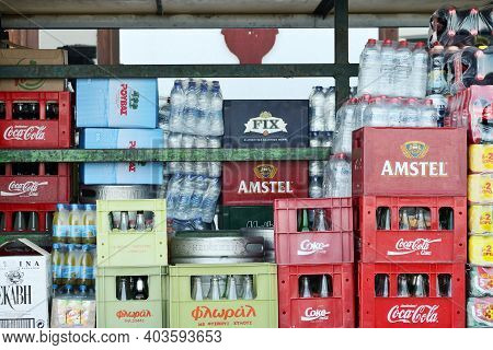 Chania, Crete- August 09: Different Drinks Packages On Beverage Delivery Truck On August 08, 2014 At