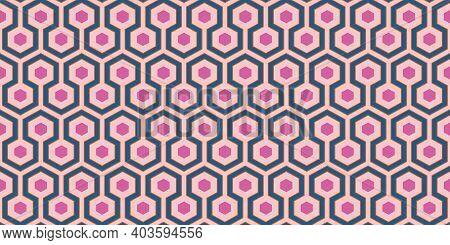 1960s Geometric Pattern | Groovy Pink, Blue And Orange Retro Design | Vintage 60s Mod Style | Seamle