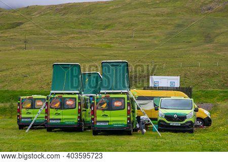 Grundarfjordur Iceland - June 22. 2020: Camper Vans From Car Rental Happy Campers