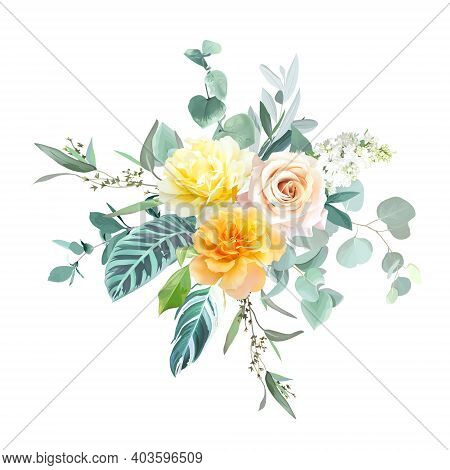 Yellow And Orange Roses, White Lilac, Spring Garden Flowers, Mint Eucalyptus, Tropical Leaves, Green