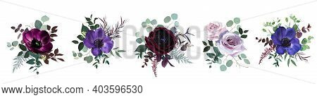 Marvelous Violet, Purple And Burgundy Anemone, Dusty Mauve And Lilac Rose, Dark Ranunculus, Astilbe,
