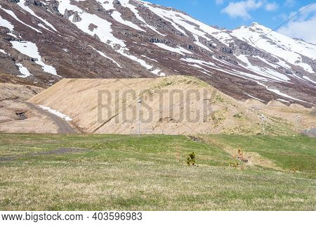 Avalanche Protection Barrier Of Town Of Neskaupsstadur In East Iceland
