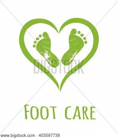 Vector Green Human Man Woman Female Male Footprints In Heart Shape.foot Care Logo Design.heels Icon