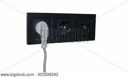 Electrical Outlet Isolated On White Background, Black Outlet With Plug, Triple Outlet With Grounding