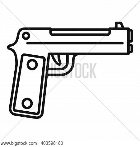 Guard Pistol Icon. Outline Guard Pistol Vector Icon For Web Design Isolated On White Background