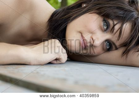 Attractive Young Woman Resting And Happy