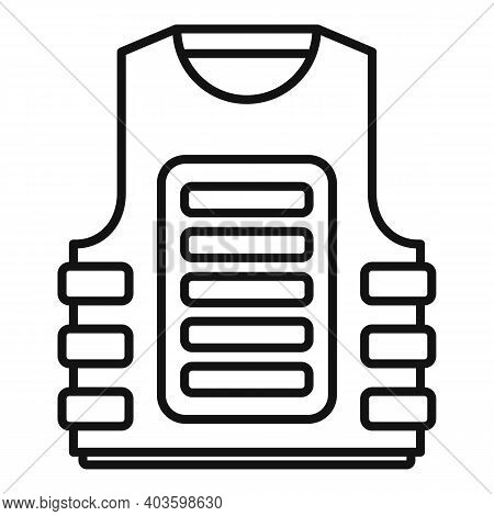 Bulletproof Vest Icon. Outline Bulletproof Vest Vector Icon For Web Design Isolated On White Backgro