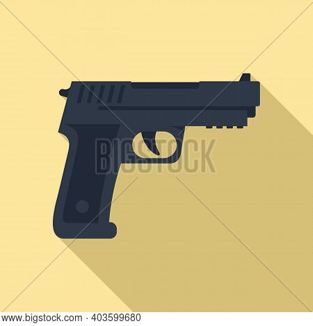 Policeman Pistol Icon. Flat Illustration Of Policeman Pistol Vector Icon For Web Design