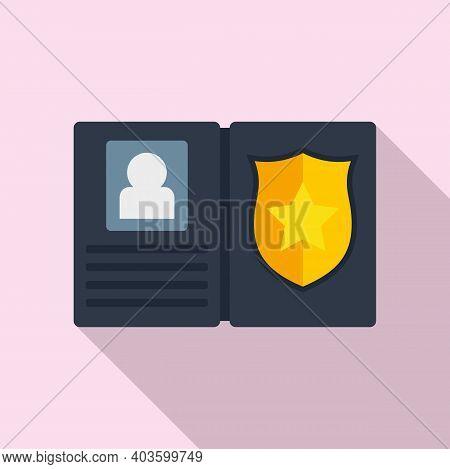 Policeman Wallet Icon. Flat Illustration Of Policeman Wallet Vector Icon For Web Design