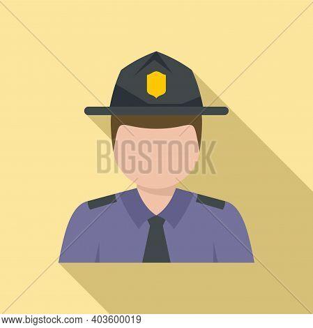 Policeman Village Icon. Flat Illustration Of Policeman Village Vector Icon For Web Design