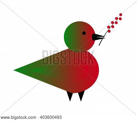Vector Illustration With The Bird Holding A Twig With Berries In Its Beak