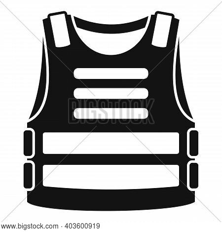 Policeman Bulletproof Icon. Simple Illustration Of Policeman Bulletproof Vector Icon For Web Design