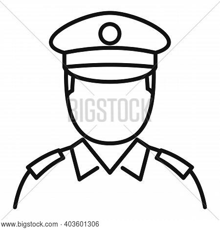 Policeman Cop Icon. Outline Policeman Cop Vector Icon For Web Design Isolated On White Background