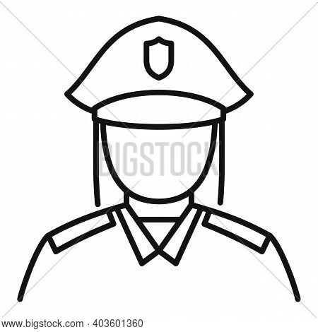 Woman Policeman Icon. Outline Woman Policeman Vector Icon For Web Design Isolated On White Backgroun