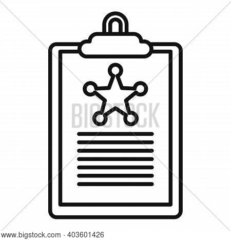 Policeman Clipboard Icon. Outline Policeman Clipboard Vector Icon For Web Design Isolated On White B
