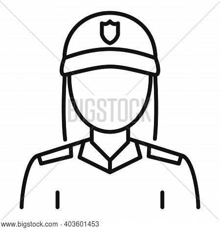 Blondie Policeman Icon. Outline Blondie Policeman Vector Icon For Web Design Isolated On White Backg