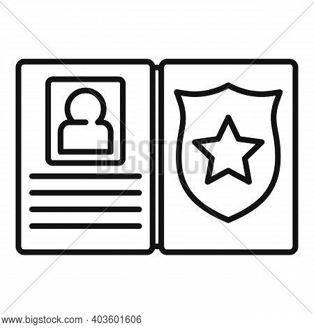 Policeman Wallet Icon. Outline Policeman Wallet Vector Icon For Web Design Isolated On White Backgro