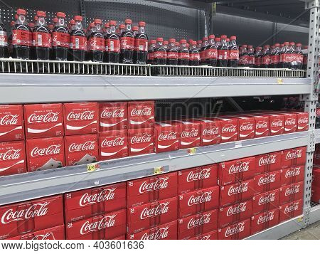 Indianapolis - Circa January 2021: Coca Cola Display. Coke Products Are Among The Best Selling Soda