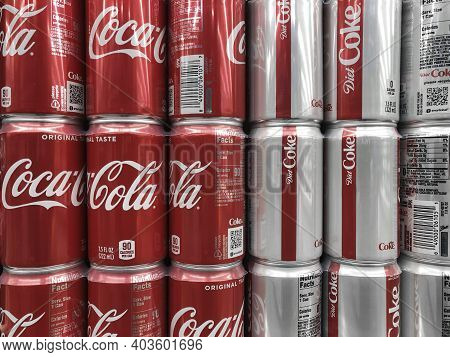 Indianapolis - Circa January 2021: Coca Cola And Diet Coke On Display. Coke Products Are Among The B